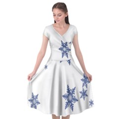 Star Snow Blue Rain Cool Cap Sleeve Wrap Front Dress by AnjaniArt