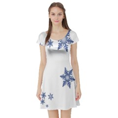 Star Snow Blue Rain Cool Short Sleeve Skater Dress by AnjaniArt