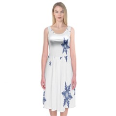Star Snow Blue Rain Cool Midi Sleeveless Dress by AnjaniArt