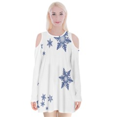 Star Snow Blue Rain Cool Velvet Long Sleeve Shoulder Cutout Dress by AnjaniArt