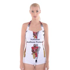 National Anthem Protest Boyleg Halter Swimsuit  by Valentinaart