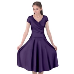 Purple Cap Sleeve Wrap Front Dress