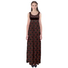 Scales2 Black Marble & Reddish Brown Wood (r) Empire Waist Maxi Dress