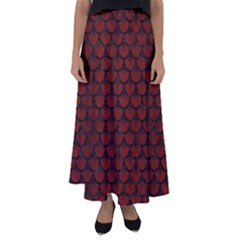 Scales3 Black Marble & Reddish Brown Wood Flared Maxi Skirt by trendistuff