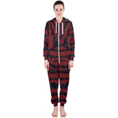Skin2 Black Marble & Reddish Brown Wood Hooded Jumpsuit (ladies)