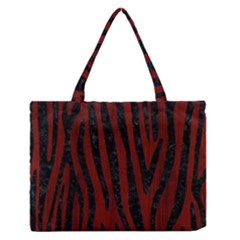 Skin4 Black Marble & Reddish Brown Wood (r) Zipper Medium Tote Bag by trendistuff