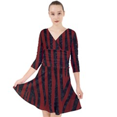 Skin4 Black Marble & Reddish Brown Wood (r) Quarter Sleeve Front Wrap Dress