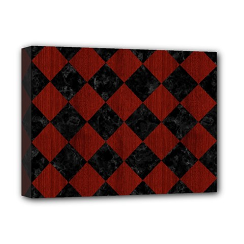 Square2 Black Marble & Reddish Brown Wood Deluxe Canvas 16  X 12   by trendistuff