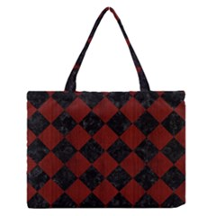 Square2 Black Marble & Reddish Brown Wood Zipper Medium Tote Bag by trendistuff