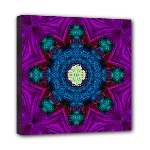 Sunshine Mandala And Fantasy Snow Floral Mini Canvas 8  X 8  by pepitasart