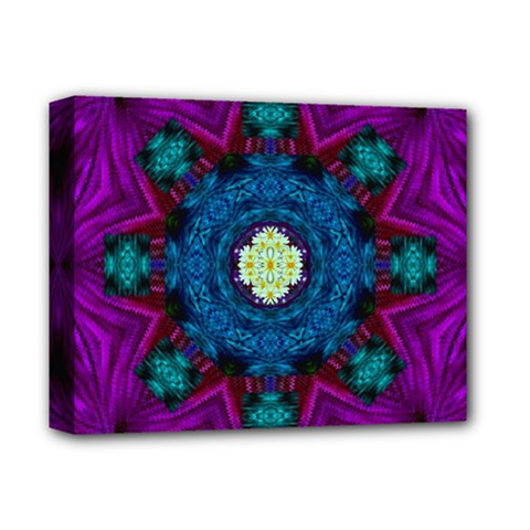 Sunshine Mandala And Fantasy Snow Floral Deluxe Canvas 14  X 11  by pepitasart
