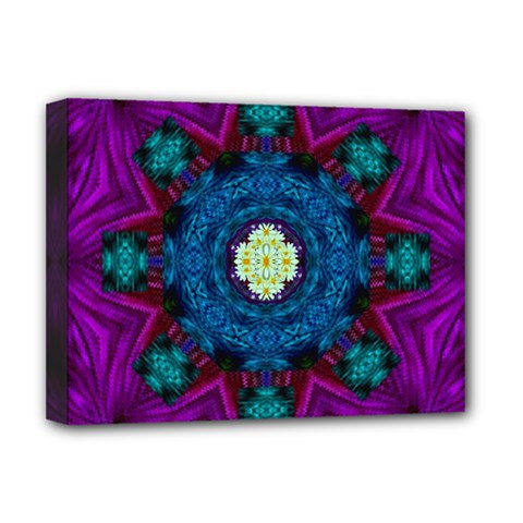 Sunshine Mandala And Fantasy Snow Floral Deluxe Canvas 16  X 12   by pepitasart