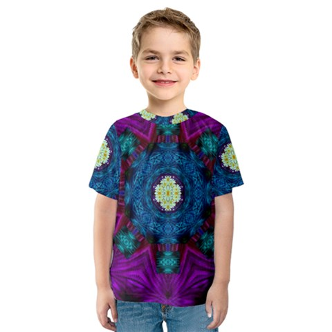 Sunshine Mandala And Fantasy Snow Floral Kids  Sport Mesh Tee by pepitasart