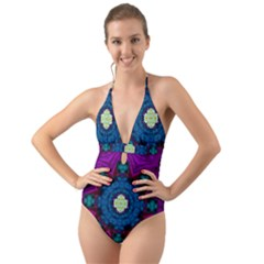 Sunshine Mandala And Fantasy Snow Floral Halter Cut Out One Piece Swimsuit