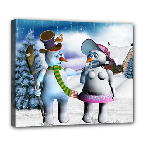 Funny, Cute Snowman And Snow Women In A Winter Landscape Deluxe Canvas 24  X 20   by FantasyWorld7