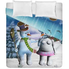 Funny, Cute Snowman And Snow Women In A Winter Landscape Duvet Cover Double Side (california King Size) by FantasyWorld7