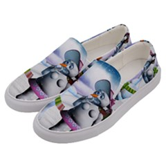 Funny, Cute Snowman And Snow Women In A Winter Landscape Men s Canvas Slip Ons by FantasyWorld7