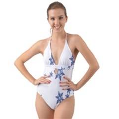 Star Snow Blue Rain Cool Halter Cut Out One Piece Swimsuit