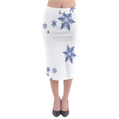 Star Snow Blue Rain Cool Midi Pencil Skirt by AnjaniArt