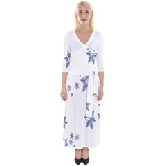 Star Snow Blue Rain Cool Quarter Sleeve Wrap Maxi Dress by AnjaniArt