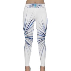Fireworks Light Blue Space Happy New Year Classic Yoga Leggings by AnjaniArt