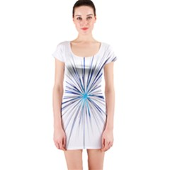 Fireworks Light Blue Space Happy New Year Short Sleeve Bodycon Dress by AnjaniArt