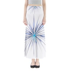 Fireworks Light Blue Space Happy New Year Full Length Maxi Skirt by AnjaniArt