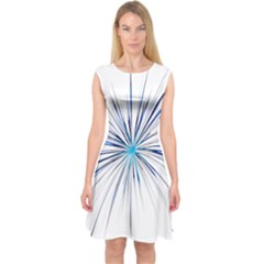 Fireworks Light Blue Space Happy New Year Capsleeve Midi Dress