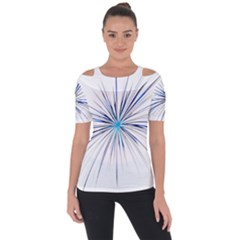 Fireworks Light Blue Space Happy New Year Short Sleeve Top by AnjaniArt