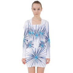 Fireworks Light Blue Space Happy New Year V Neck Bodycon Long Sleeve Dress
