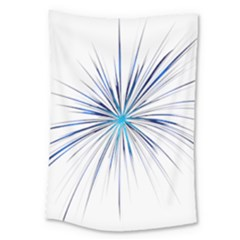 Fireworks Light Blue Space Happy New Year Large Tapestry by AnjaniArt