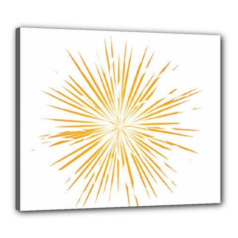 Fireworks Light Yellow Space Happy New Year Canvas 24  X 20