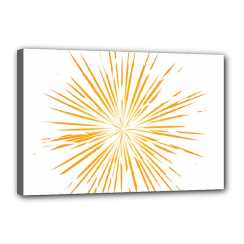 Fireworks Light Yellow Space Happy New Year Canvas 18  X 12