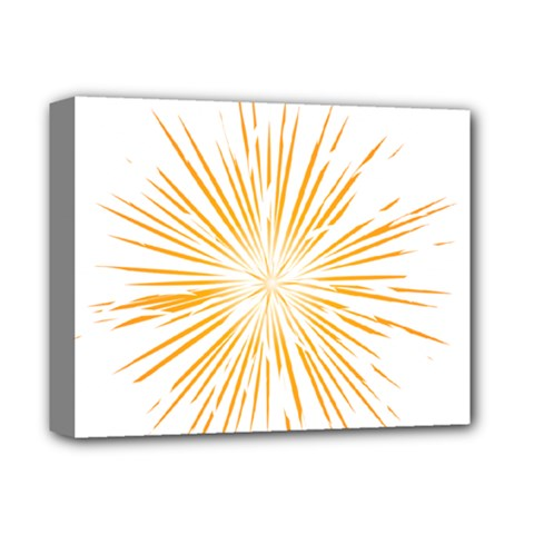 Fireworks Light Yellow Space Happy New Year Deluxe Canvas 14  X 11  by AnjaniArt