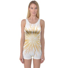 Fireworks Light Yellow Space Happy New Year One Piece Boyleg Swimsuit
