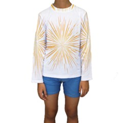 Fireworks Light Yellow Space Happy New Year Kids  Long Sleeve Swimwear by AnjaniArt