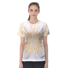 Fireworks Light Yellow Space Happy New Year Women s Sport Mesh Tee by AnjaniArt