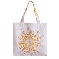 Fireworks Light Yellow Space Happy New Year Zipper Grocery Tote Bag by AnjaniArt
