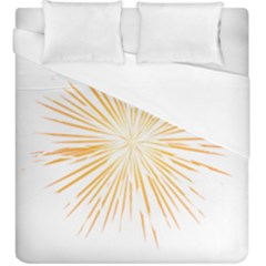 Fireworks Light Yellow Space Happy New Year Duvet Cover (king Size) by AnjaniArt