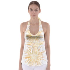 Fireworks Light Yellow Space Happy New Year Babydoll Tankini Top