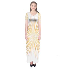 Fireworks Light Yellow Space Happy New Year Short Sleeve Maxi Dress