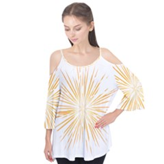 Fireworks Light Yellow Space Happy New Year Flutter Tees by AnjaniArt