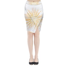 Fireworks Light Yellow Space Happy New Year Midi Wrap Pencil Skirt by AnjaniArt