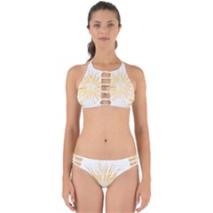 Fireworks Light Yellow Space Happy New Year Perfectly Cut Out Bikini Set