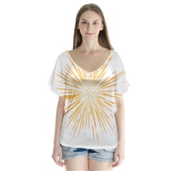 Fireworks Light Yellow Space Happy New Year V Neck Flutter Sleeve Top by AnjaniArt