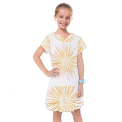 Fireworks Light Yellow Space Happy New Year Kids  Drop Waist Dress