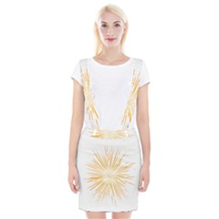 Fireworks Light Yellow Space Happy New Year Braces Suspender Skirt by AnjaniArt