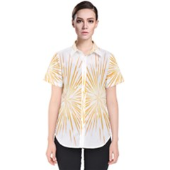 Fireworks Light Yellow Space Happy New Year Women s Short Sleeve Shirt by AnjaniArt