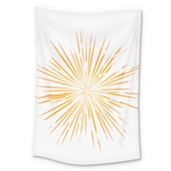 Fireworks Light Yellow Space Happy New Year Large Tapestry by AnjaniArt