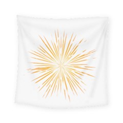 Fireworks Light Yellow Space Happy New Year Square Tapestry (small) by AnjaniArt